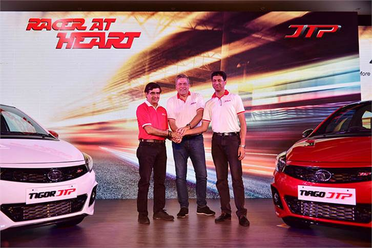 L-R: Mayank Pareek, president, Passenger Vehicles, Tata Motors; Guenter Butschek, CEO & MD, Tata Motors and J Anand, co-promoter and director, JTSV & MD, Jayem Automotives.
