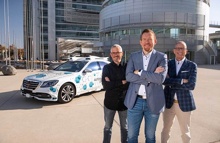 L-R: Sven Zimmermann, Engineering Director Automated Driving at Robert Bosch; Alexander Schaab, VP (Autonomous Driving), Mercedes-Benz R&D North America (MBRDNA); and Dolan Beckel, Director of Civic Innovation of the City of San José.
