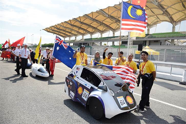 Team UiTM Eco-Planet, race number 614, from Universiti Teknologi Mara (UiTM) Shah Alam, Malaysia, competing in the UrbanConcept - Hydrogen category during Day 1.