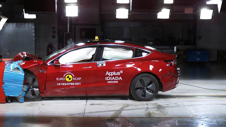 Tesla Model 3 had a perfect score in the frontal offset deformable barrier crash test. Frontal offset impact takes place at 64kph, 40% of the width of the car striking a deformable barrier.