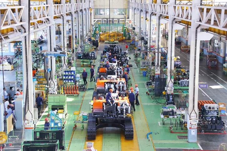 The assembly line at the excavator plant.