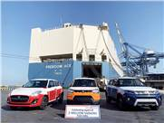 Export-ready batch of Maruti Suzuki vehicles comprising S-Presso, Swift and Vitara Brezza have left for South Africa from Mundra Port, Gujarat.