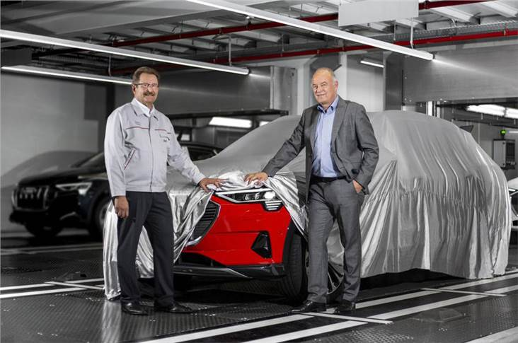 The first Audi e-tron was produced in Belgium, watched over by members of the firm