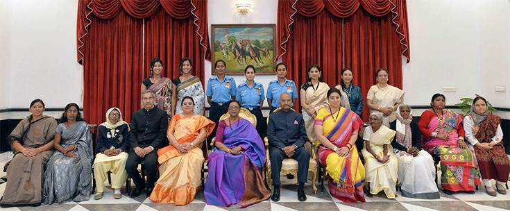 President Ram Nath Kovind with the 15 recipients of the 2019 Nari Shakti Puruskar, at Rashtrapati Bhavan, in New Delhi. Union Minister for Women & Child Development and Textiles, Smriti Irani, the Minister of State for Women and Child Development, Sushri Debasree Chaudhuri and other dignitaries are also seen.