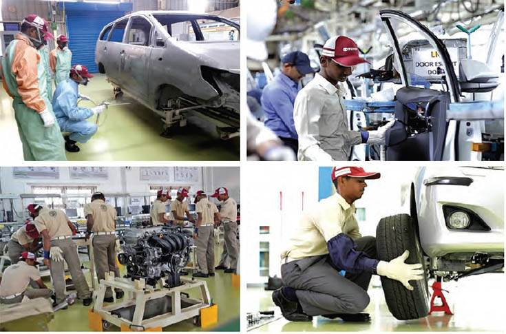 Toyota Kirloskar Motor has trained 573 students at TTTI. Students are trained intensively in technical aspects of the shopfloor.
