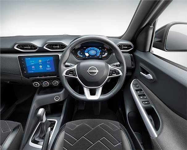 The Magnite is tall on creature comforts and features a large 8-inch touchscreen infotainment system with wireless Android Auto and Apple CarPlay.