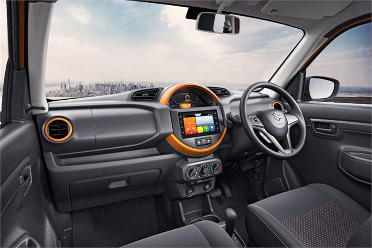 """The S-Presso has a bright interior with a centre console that's """"inspired from tough sports watches to appeal to the young customer."""""""