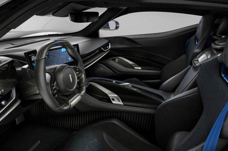The cabin receives redesigned seats, which will also be available on the standard Battista, and blue accents that match the exterior pinstripe.