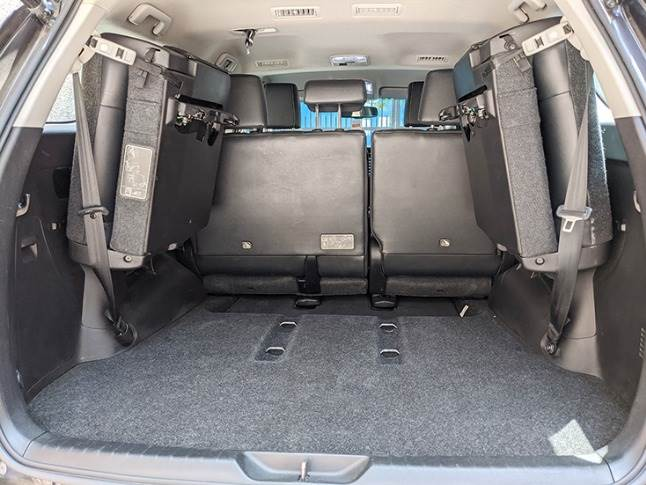 Reasonable boot space even beyond third row seats. Tail gate gets electronic operation as well as subwoofer.