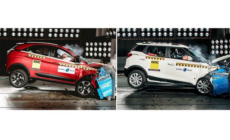 Tata Nexon and Mahindra XUV300 both aced the Global NCAP crash test with a five-star rating. The Indian government's front offset test is conducted at 56kph which, though lower than the Global NCAP's front offset 64kph crash test speed, is in line with the United Nations' Regulation 94 for front impact protection.