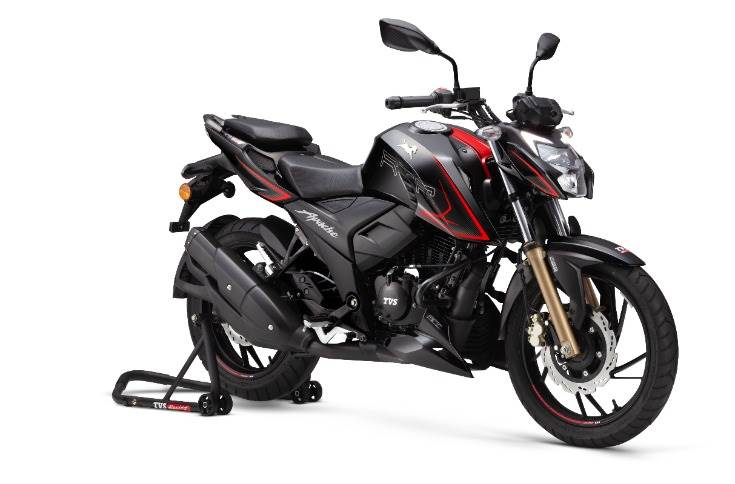 The TVS Apache RTR 200 4V - DC – is priced at Rs 124,000 and is said to be  be the only motorcycle in its class to offer dual-channel ABS with RLP (Rear wheel Lift-off Protection) control and RT-Slipper Clutch.