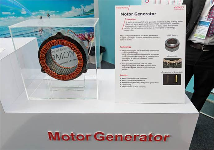 Motor generator, composed of stator and rotor, propels vehicle and generates electricity during braking. It contributes to better driving and improved efficiency,