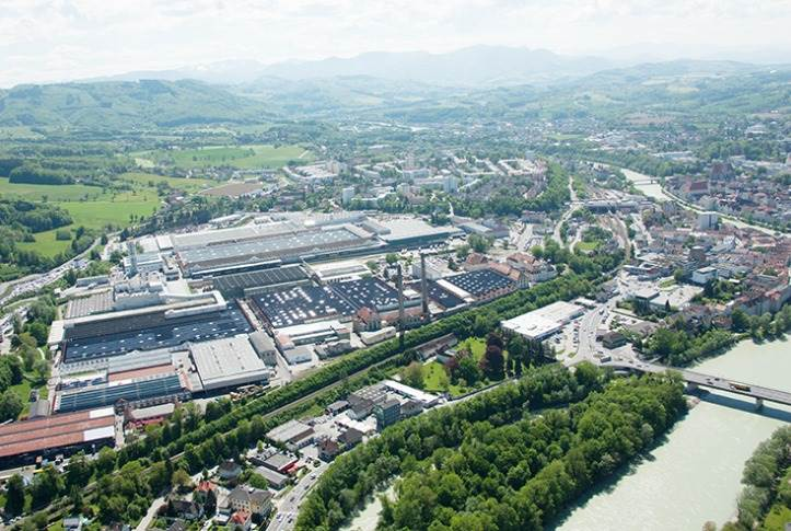 Aerial view of the Steyr Automotive plant in Austria.