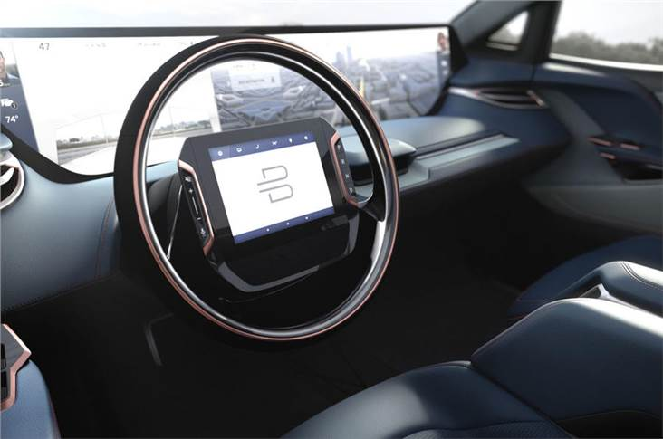 Driver Tablet controller is integrated into steering wheel