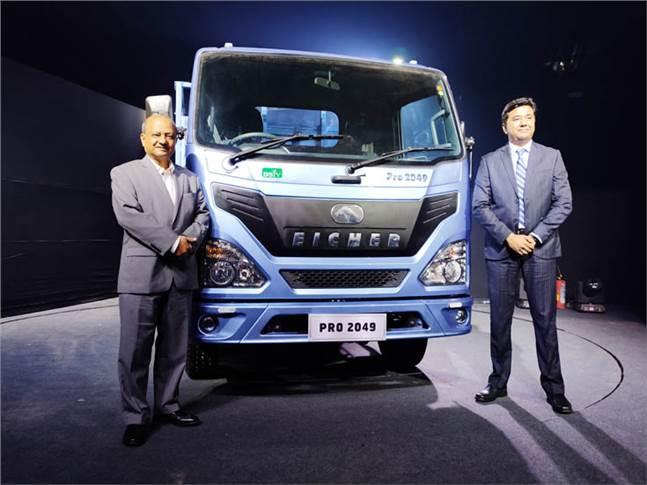 Vinod Aggarwal, MD and CEO, VECV and Vishal Mathur, senior VP (Sales & Marketing) unveil the Eicher Pro 2000 BS VI range of trucks in Mumbai.