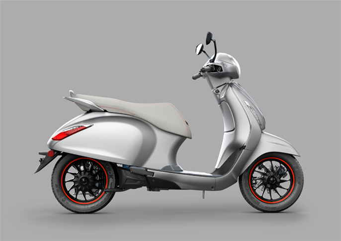 The Chetak, which has a 4kW electric motor and IP67-rated lithium-ion battery pack, has two riding modes – Eco (95km range) and Sport (85km range) – and a reverse assist feature as well.