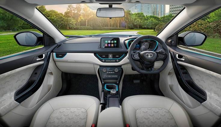 Nexon EV interior gets blue highlights – around the 7.0-inch digital instrument cluster and on the centre console.