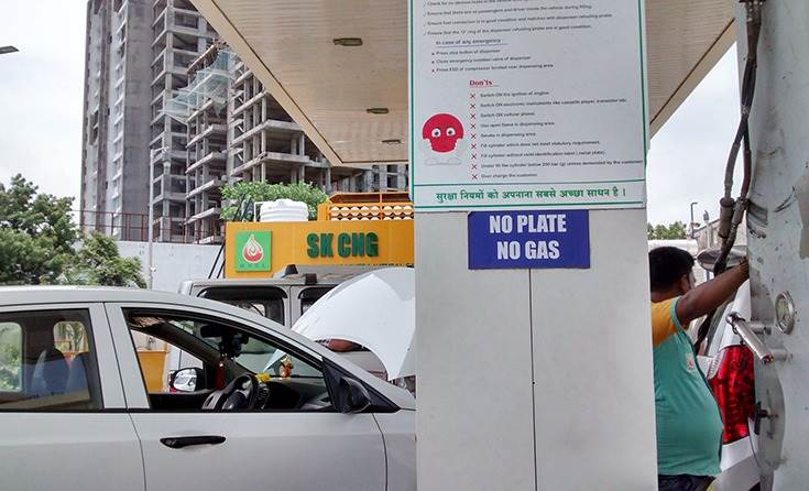 As of February 2, 2020, public sector OMCs have installed CNG facilities at 1,438 retail outlets in the country. This one is near the Mumbai-Pune Expressway.