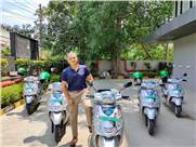 Sanjeev Vashishta, MD & CEO, Pathkind Diagnostics with the customised Hero Electric scooters.