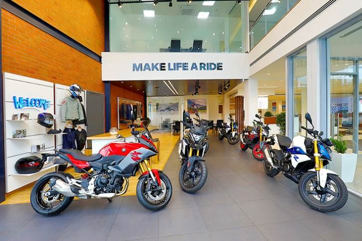 The BMW Motorrad section displays six motorcycles along with the latest lifestyle and accessories collection.