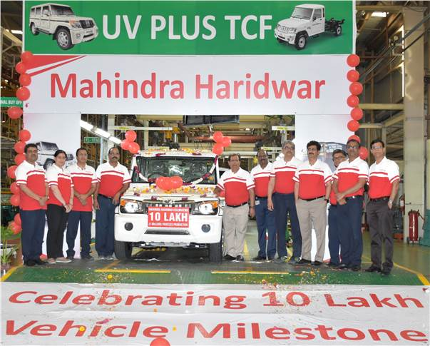 The popular Bolero is the landmark millionth vehicle from the Haridwar plant which also manufactures three-wheelers.