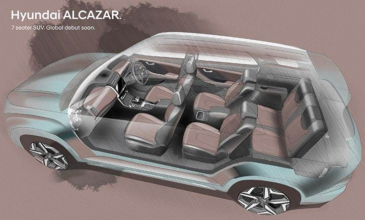 Creta-based Alcazar is a seven-seater with three rows of seats.
