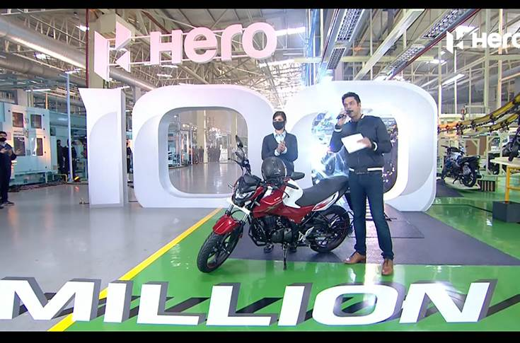The 100 millionth bike, the Xtreme 160R, was rolled-out of the company's manufacturing facility in Haridwar, in Uttarakhand.