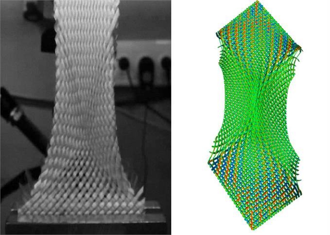 Left: Determining the critical shear angle of a woven fabric. Test performed at ITA. Right: Simulation of the same test with an incipient crease using TexMath.