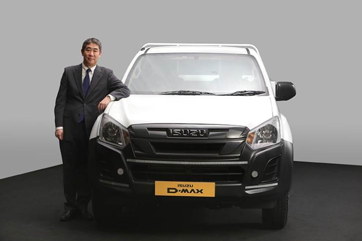 Ken Takashima, Deputy Managing Director, Isuzu Motors India with the BS VI D-Max.