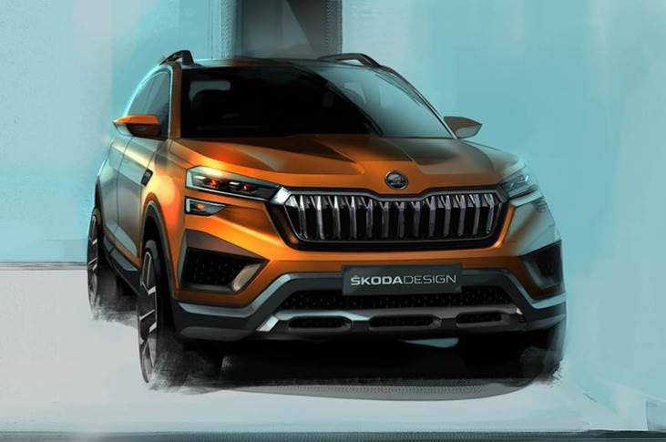 The first exterior sketch provides a glimpse of the Skoda Vision IN's face, which echoes the design of the Kamiq sold abroad.