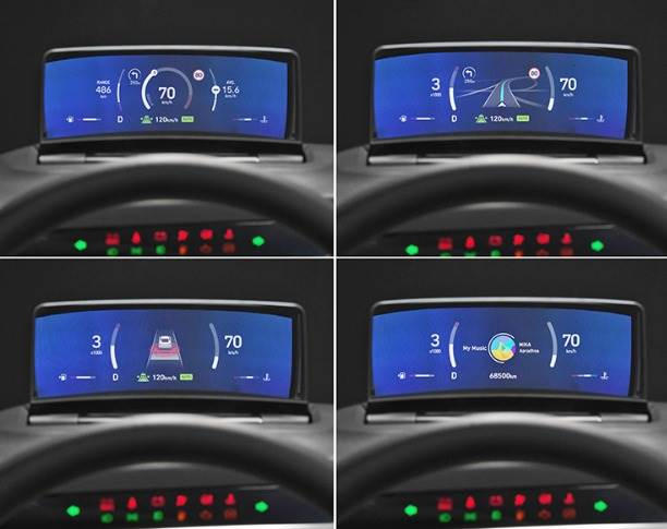 The clusterless HUD consists of 4 display areas – three at the top (for top speed, rpm, ADAS and navigation info) and one at the bottom (for shift mode, coolant temperature and driving range). It can also display turn signals and system information warning lights.