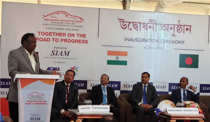 Tipu Munshi, minister of Commerce, government of Bangladesh addressing the participants at the Indo-Bangla auto show.