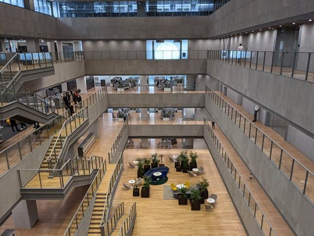 State-of-the art building houses 10 floors with four underground levels, six main levels and is Zone-5 earthquake compliant.