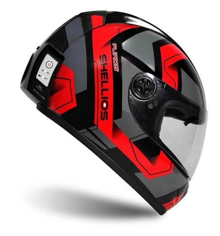 The Puros helmet, which is powered by a rechargeable battery, has a specially designed HEPA filter and a fan that pulls air through it to direct clean air to the rider.