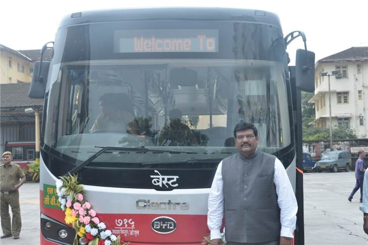 Anand Swaroop, COO, Olectra Greentech at the launch of Olectra-BYD electric ebus in Mumbai.