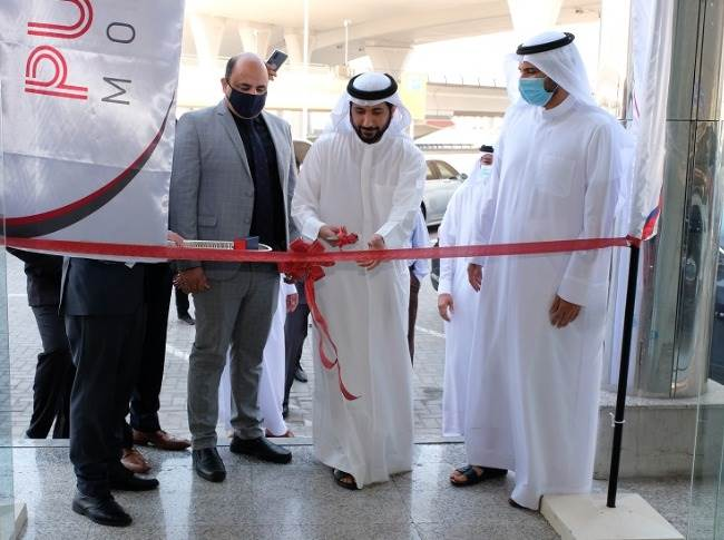 Ibrahim Al Sadah, head and managing partner, Public Motors; Ahmad Al Sadah and Amit Manawa, TVS Motor Company at the inauguration ceremony.