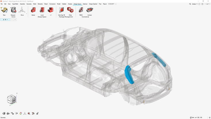 Complete HyperWorks workflow supports topology optimisation modelling and meshing.