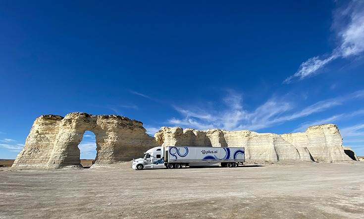 The Plus.ai truck at Monument Rocks (Kansas). The vehicle drove primarily in autonomous mode through the 2,800 miles across interstate 15 and interstate 70, passing through varied terrains and weather conditions.