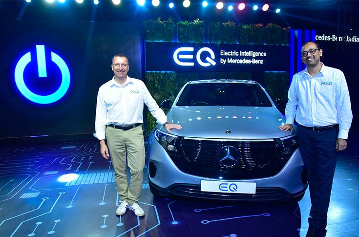 L to R - Martin Schwenk, MD and CEO, Mercedes-Benz India and Santosh Iyer, vice president, sales and marketing, Mercedes-Benz India at the launch of brand 'EQ' in India