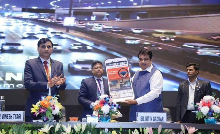 The Union Minister for Road Transport & Highways and Micro, Small & Medium Enterprises, Nitin Gadkari launched a road safety app, an initiative of ICAT NuGen with NGO Drive Smart Drive Safe. Also seen are ICAT