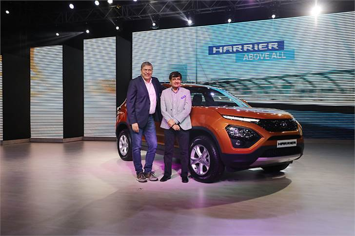 L-R: Guenter Butschek, CEO and managing director, Tata Motors and Mayank Pareek, president – Passenger Vehicle Business Unit, Tata Motors at the launch of the Tata Harrier in Mumbai.
