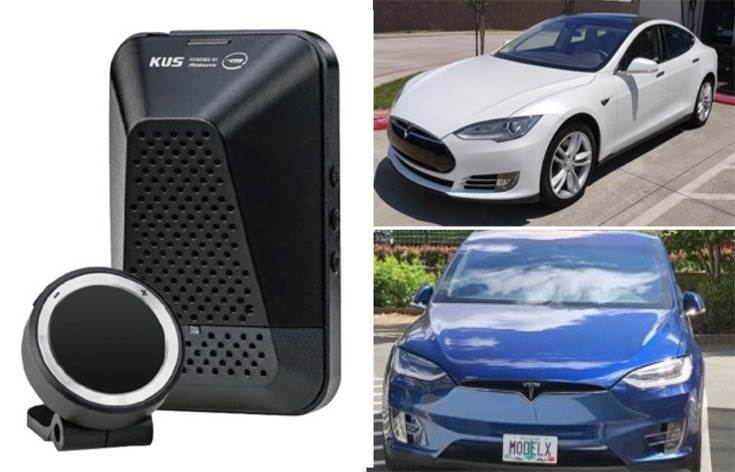 Tesla models used to conduct experiments on. (Left above and below): Tesla Model S (2016) and Tesla model X (2016); MobilEye camera sensor.