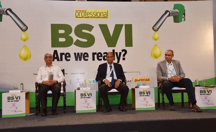 Session III: 'Role of the oil and lube industry in BS VI'. L-R: Dr NK Bansal, director, FIPI; Dr YP Rao, CTO, Gulf Oil International Group; and Purshottam Panda, ED (Engineering), Maruti Suzuki India.