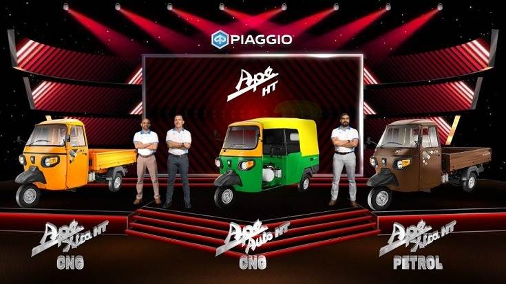 Diego Graffi, chairman and MD, Piaggio India and Saju Nair, EVP and head of Commercial Vehicle Business, Piaggio India launching the new Ape
