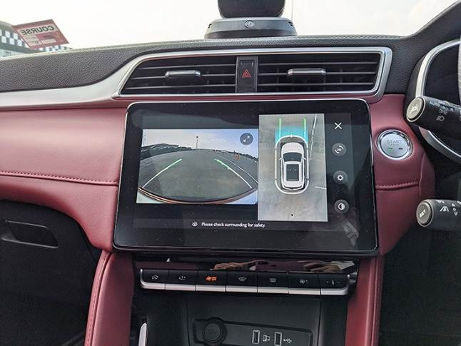 The 360-degree camera feed comes to driver