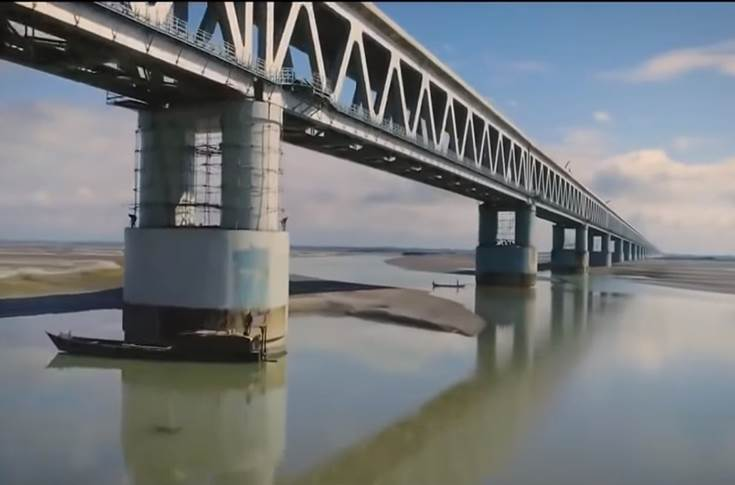 The bridge is built over the Brahmaputra river in Assam