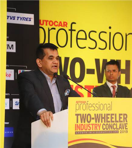 "Amitabh Kant, CEO, Niti Aayog: ""Our target is to make 30 percent of the two-wheeler population and 50 percent of three-wheelers switch over to electric by 2030."""