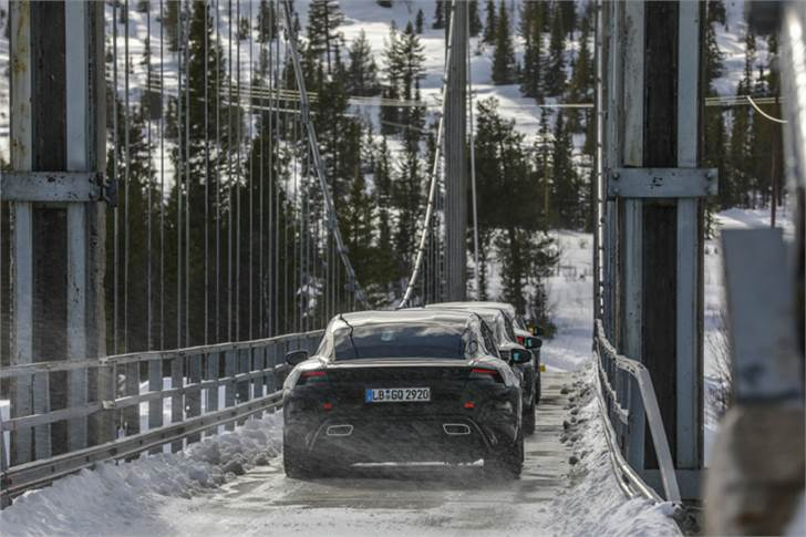 The Taycan in Scandinavia during cold weather tests.