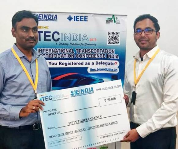 Team Safety First comprising Maheshwaran Arunachalam and Ravindra Reddy from Mahindra Electric was the runner-up and won Rs 50,000. They will showcase their paper at iTEC India in Bangalore next month.