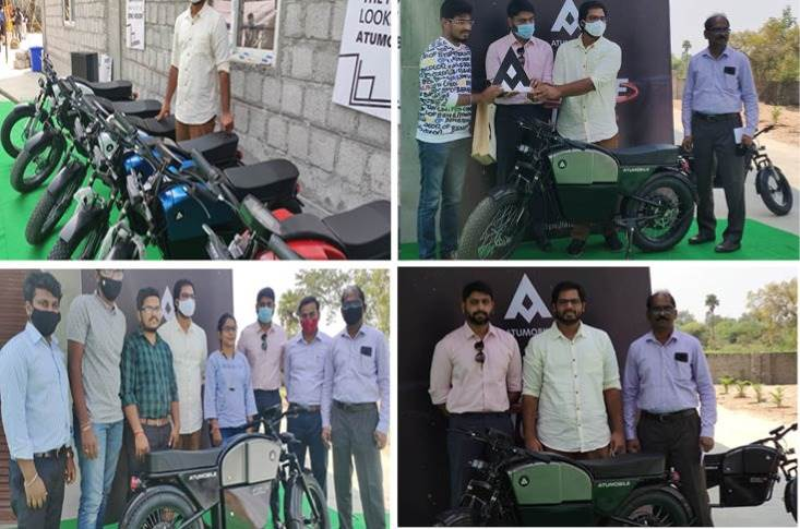 Vamsi Gaddam, founder and CEO, Atumobile handed over the bikes to the first 10 customers at its plant in Patancheru, Hyderabad.